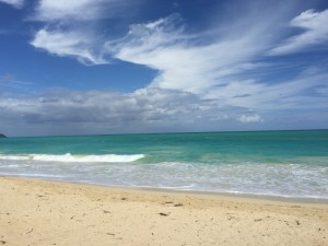 nice white, silky sand at Waimanalo Beach